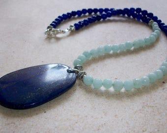 Amazonite necklace lapis pendant necklace blue green necklace large pendant necklace long gemstone necklace SP blue statement necklace