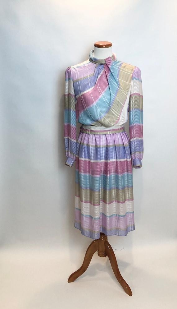 1970/1980 Mavinette Pastel Plaid Vintage Dress
