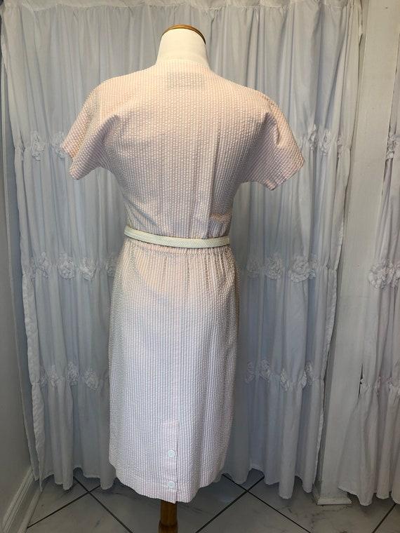 Vintage Seersucker pink & white dress - image 3