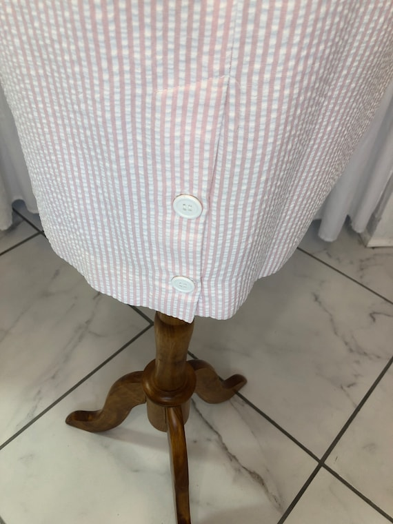 Vintage Seersucker pink & white dress - image 7