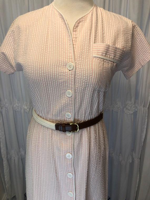 Vintage Seersucker pink & white dress - image 8