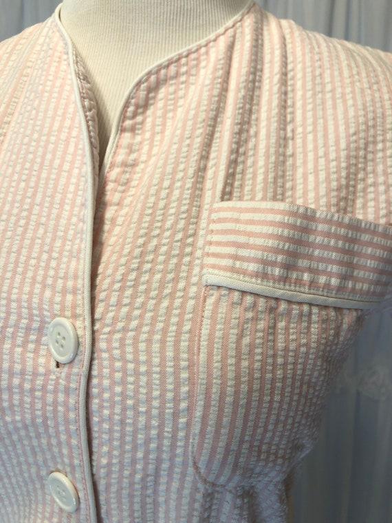 Vintage Seersucker pink & white dress - image 5
