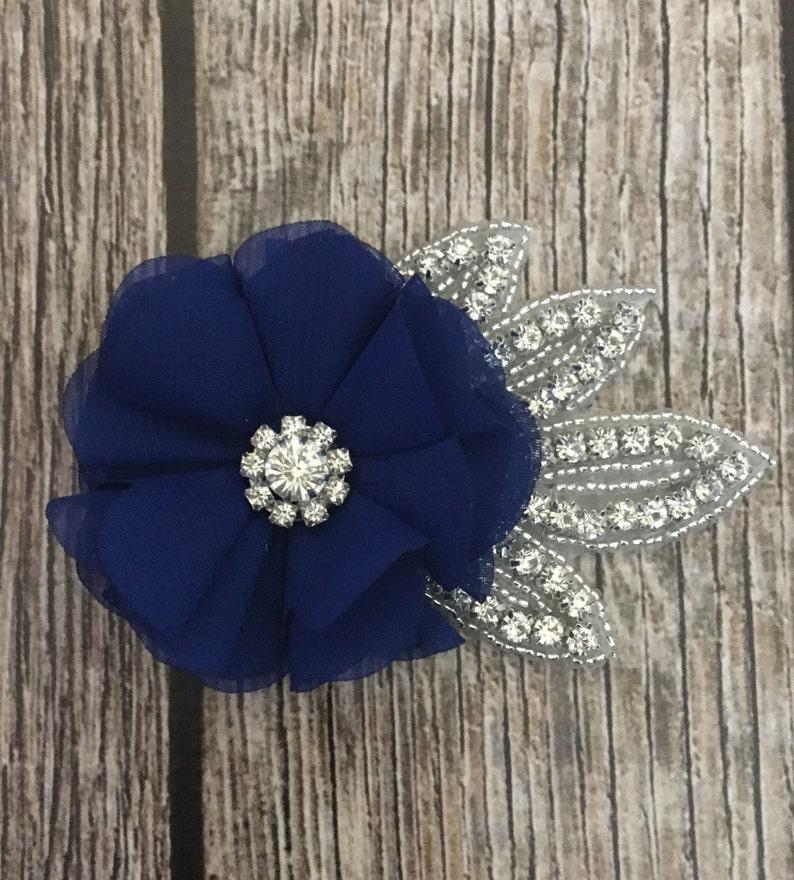 vintage hair clip rhinestone hair clip floral hair clip Royal blue hair clip flower hair clip wedding hair clip