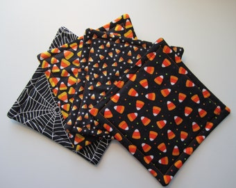Halloween Fabric Coaster Set, Halloween, Coasters, Candy Corn, Spider Web, Fabric Coaster Set, Coaster Set, Fabric Coasters, Hostess Gift