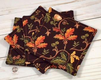 Botanical Fall Fabric Coaster Set, Fall, Autumn, Botanical, Floral, Coasters, Hostess Gift, Gift, Fabric Coasters, Coaster Set