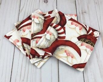 Santa Fabric Coaster Set, Santa, Christmas, Coasters, Hostess Gift, Fabric Coasters, Coaster Set, Fabric Coaster Set, Hostess Gift, Gift