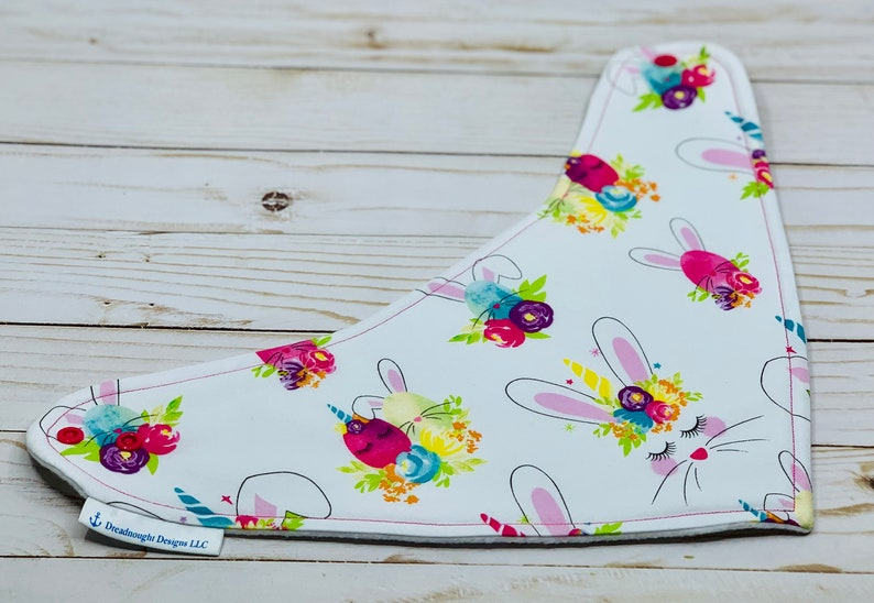 Gift Drool Bib Bandana Style Bib Easter Bunny Unicorn Bandana Baby Bib Easter Custom Baby Gift Bespoke Baby Shower Gift