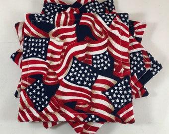 Patriotic Flag Fabric Coaster Set, Patriotic, American Flag, Coasters, Hostess Gift, Fabric Coaster Set, Coaster Set, Fabric Coasters, Gift