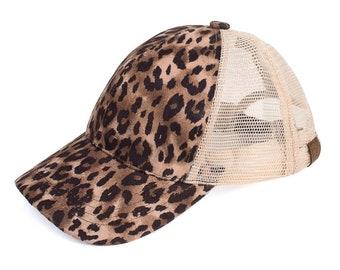 dbf4d88a4d8 C.C Leopard Print High Ponytail Ball Cap with Mesh