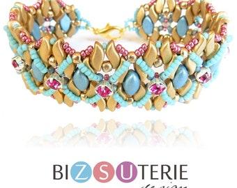 FEMI bracelet - instant download beading pattern with StormDuo and IrisDuo beads