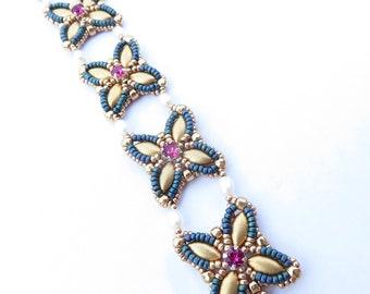 Kara bracelet - instant download beading pattern with IrisDuo beads