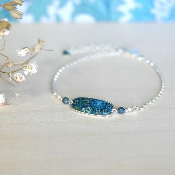 Bracelet vert canard à motifs floraux 'Solidage, chaîne en argent 925