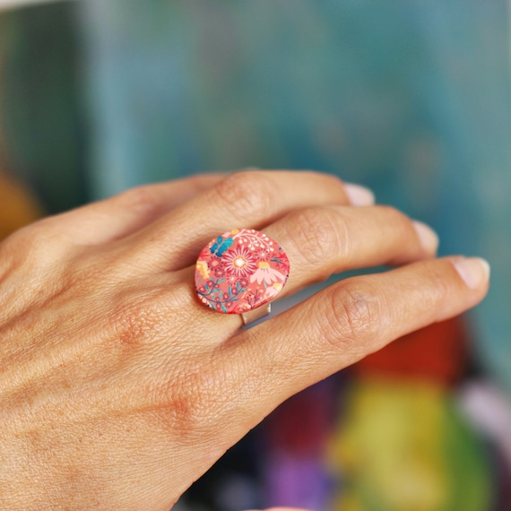 Sterling silver ring with handmade pink and teal floral patterns, 'Lycaste' series