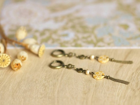 Boho style earrings, spicy yellow earrings, long earrings, bronze tassel, handmade patterns 'Mahonia'
