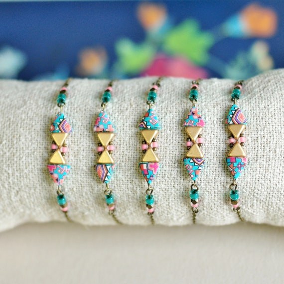 Ethnic bracelet, teal and pink triangle beads with handmade patterns on brass chain, 'Azolla'series