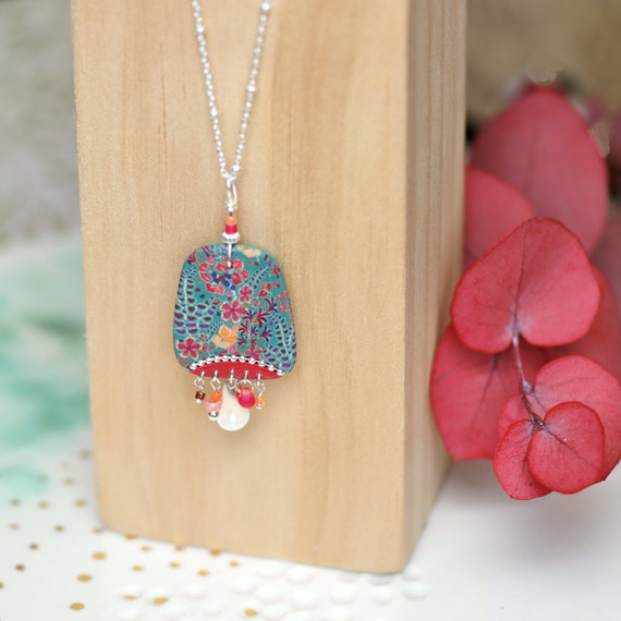 Sterling silver long necklace with handmade floral patterned pendant, 'Tiarelle' series