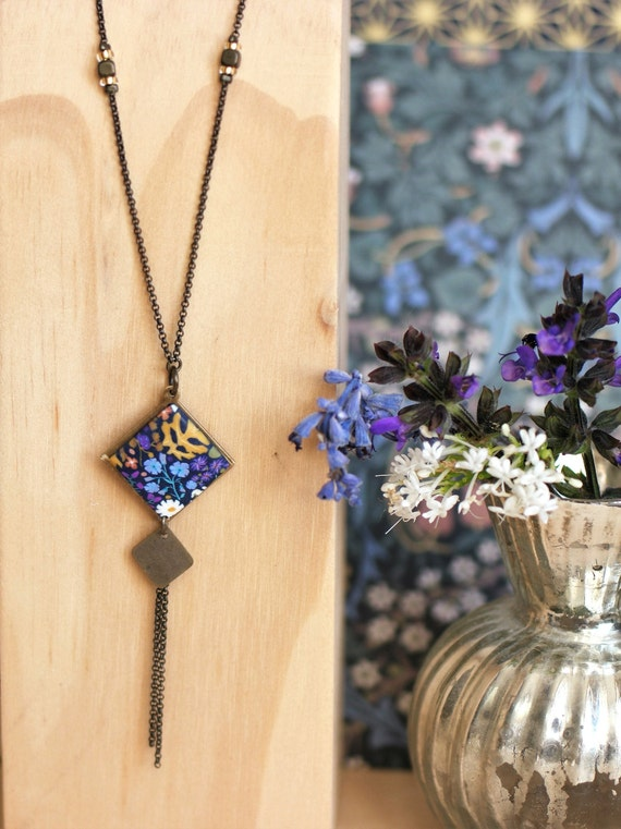 brass necklace with tassels and diamond pendant with purple and ochre floral pattern, 'Iris' collection