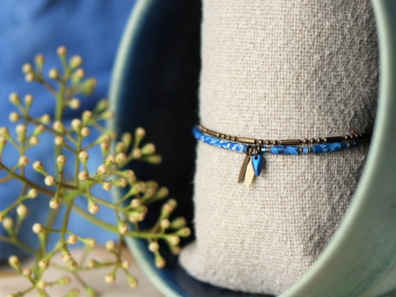 2 row bracelet in brass with handmade long blue beads and tassels, 'Cleonia' series