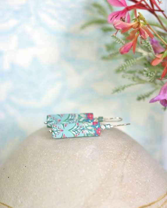 Pendant green earrings, handmade floral patterns, sterling silver earrings, rectangle earrings, pastel green and pink, 'Nalini'