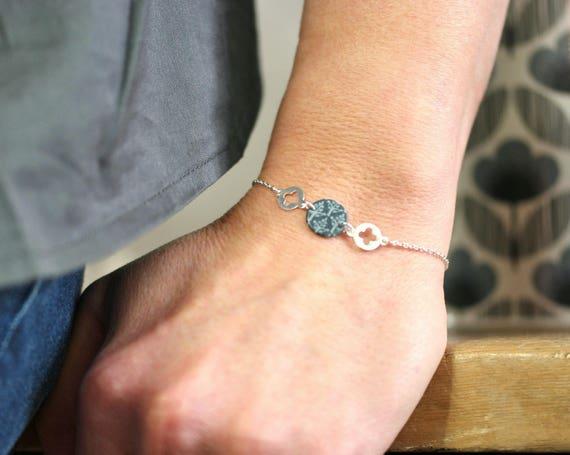 Fine bracelet, bracelet 925 sterling silver, grey pattern, round sequin bracelet bracelet, handmade hand 'Cornflower' pattern