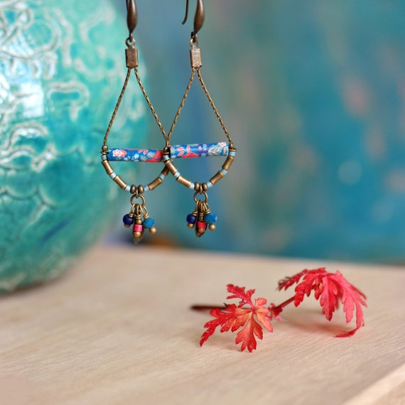 Drop pendant earrings with handmade japanese patterns 'Dionee'
