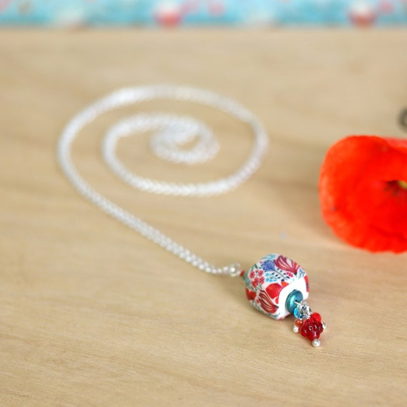 Sterling silver long necklace with handmade red floral patterns in polymer clay 'Callistemon'