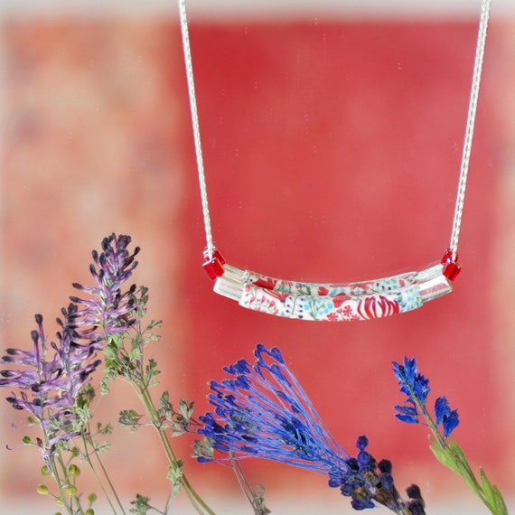Sterling silver necklace with handmade red floral patterns in polymer clay 'Callistemon'
