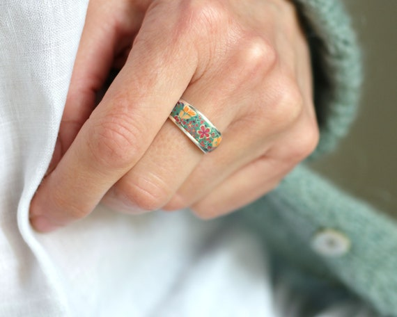 925 silver ring decorated with green and pink floral motifs in polymer pate, 'Tiarelle' collection