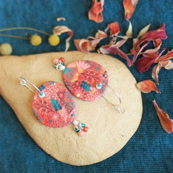 Sterling silver earrings with handmade baked earth floral patterns, 'Lycaste' series