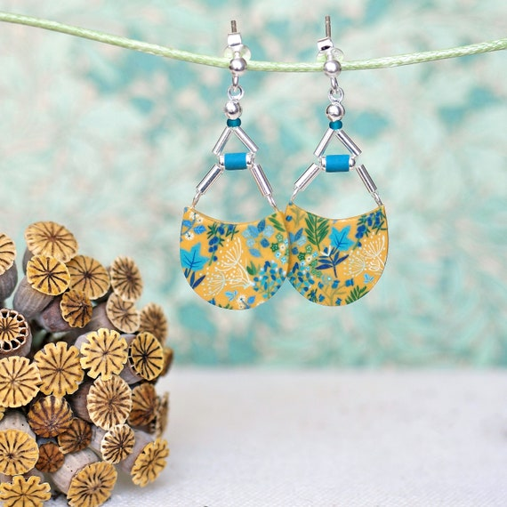 Pendant yellow and teal earrings with handmade floral pattern on sterling silver, 'Osmonde' series