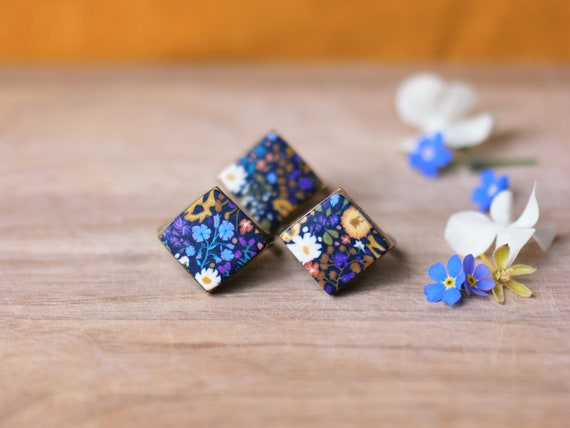 Bronze brass diamond ring with ochre, blue and mauve floral pattern, 'Iris' collection