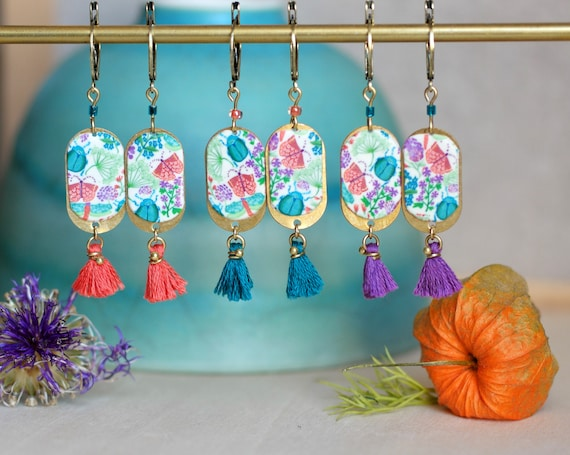Pendant earrings with handmade floral patterns and orange, green or purple tassel, 'Aglais' series