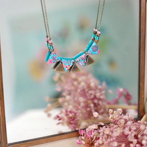 Ethnic necklace, teal and pink triangle beads with handmade patterns on brass chain, 'Azolla' series