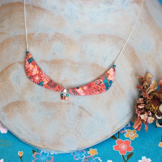 Sterling silver necklace with handmade baked earth floral patterns, 'Lycaste' series