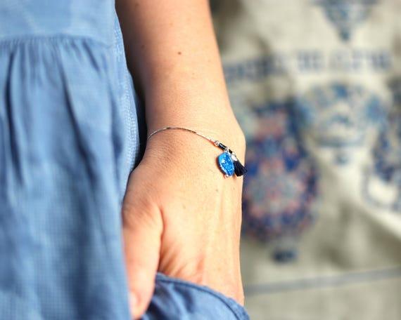 Sterling silver bracelet with blue tassels 'Agathis'