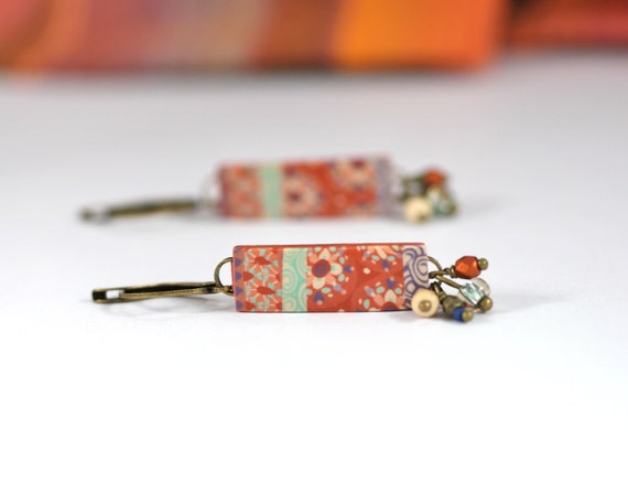 Boheme orange earrings 'Osmanthe' rectangle of handmade japanese patterns patchwork