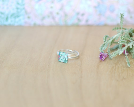 Tiny floral ring, pastel green ring, sterling silver ring, indian flower patterns, square ring, pink and green ring, 'Nalini'