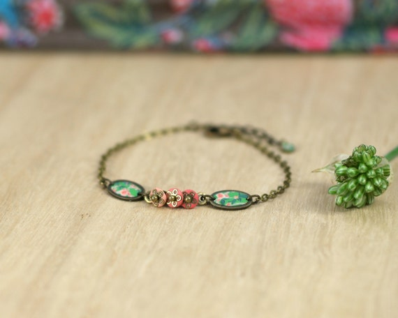Boheme bracelet, pink and green bracelet, handmade japanese patterns, brass bracelet,  'Alcea'