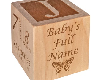 Personalized Wooden Baby Block Gift Engraved Its A Girl Etsy