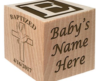 Catholic Baptism Gift - Christening Presents - Baptism Gift - Keepsake Custom Engraved wooden baby blocks for newborn girl newborn boy