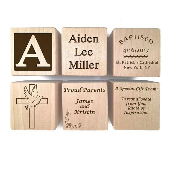 Handmade Craft Christening Block Baptism Gift Ideas Christening Ideas Keepsake Engraved Wooden Baby Blocks For Newborn Girl Newborn Boy