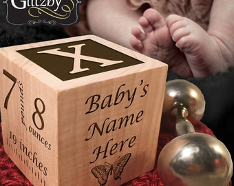 Custom Engraved Baby Block / Newborn Gift / Baby Gift / Wooden Block / Woodland Nursery / Personalized Baby Gift / Custom Baby Block