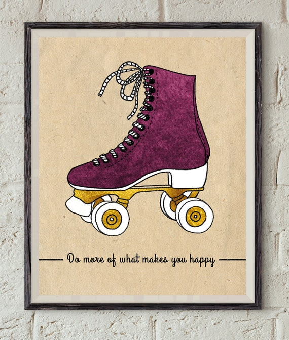 Happy Quote Art Vintage Roller Skate Retro Wall Art Etsy Stunning Quote Roller