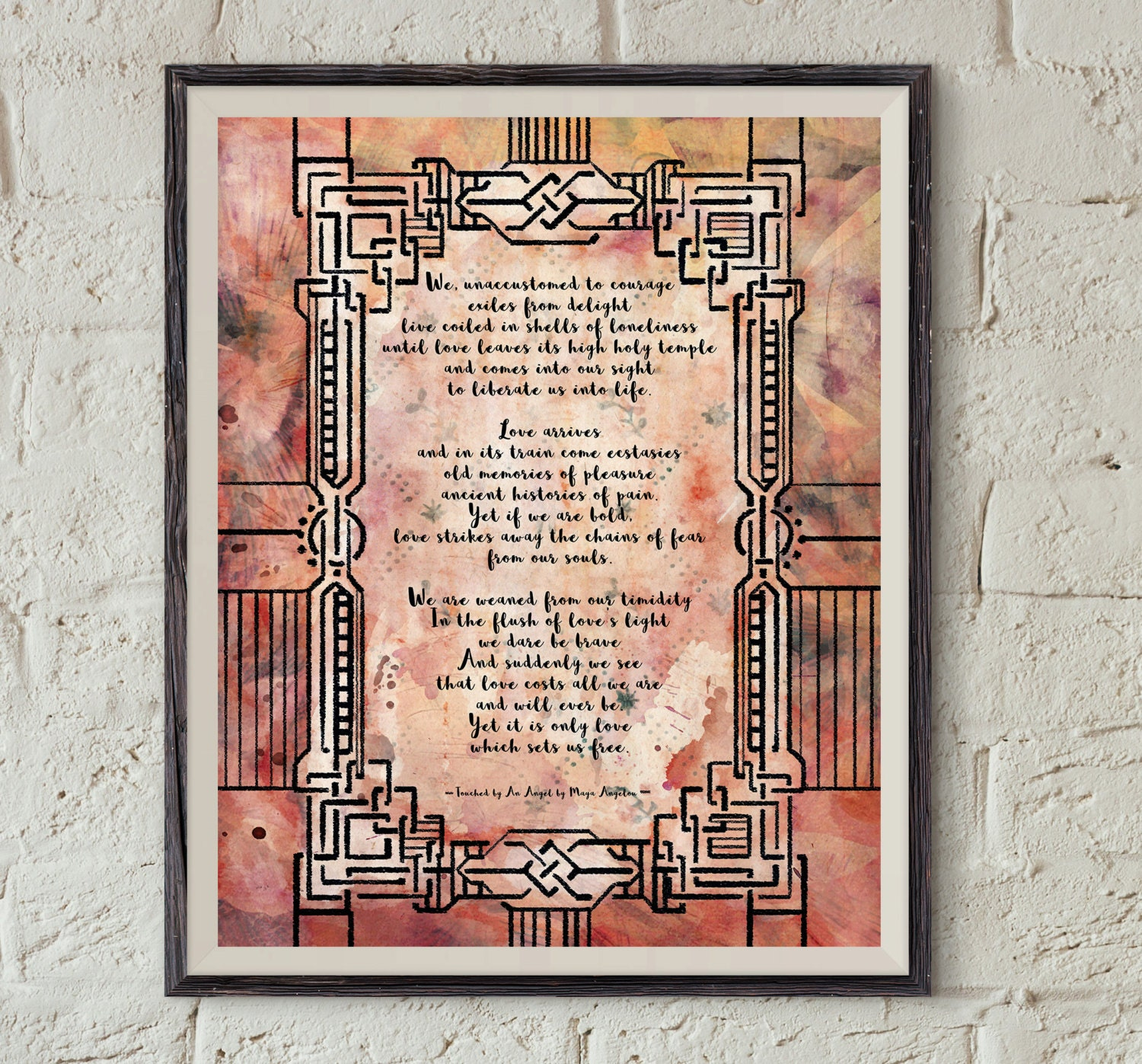 Maya Angelou Poem - Touched By An Angel - Love Poetry Art - Digital  Download Print - Literature Printable - Poetry Home Decor - Love Quote