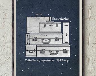 Wanderlust Quote - Inspirational Art - Travel Printable - Wanderluster Print - Traveler Gift - Experience Quote Art - Adventurer Wall Decor