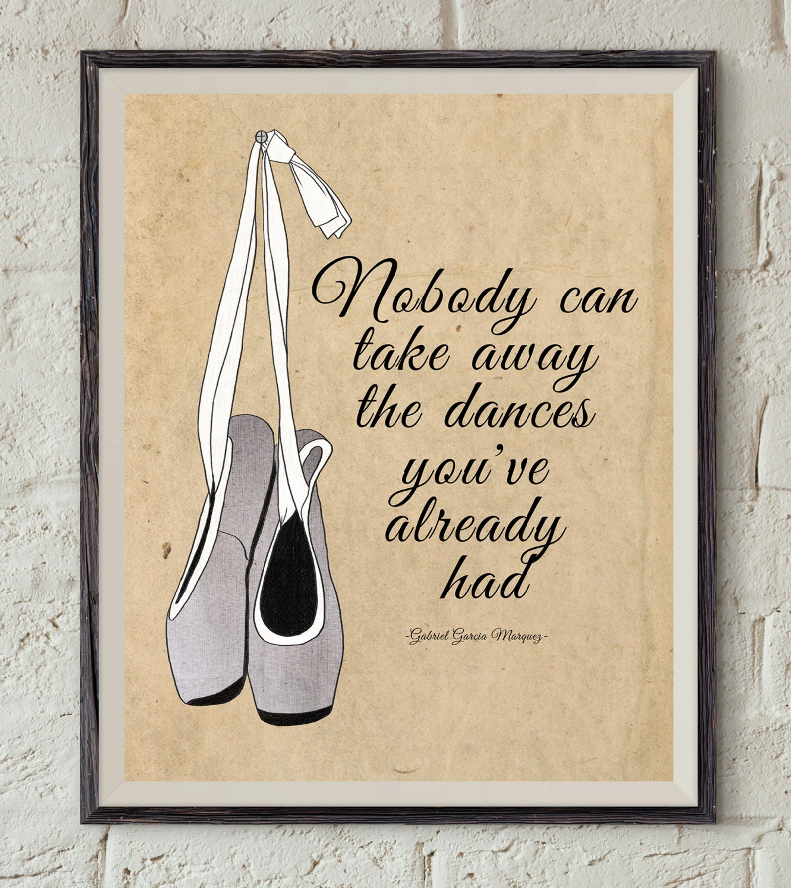 dance quote art - gabriel garcía márquez book - ballet shoes printable - bookworm gift - famous quote - book printable - ballet