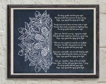 Boho Printable - Mandala Art - Dylan Thomas Quote Print - Do Not Go Gentle Into That Good Night - Poetry Art Print - Bohemian Home Decor