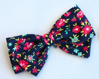 Blue Floral Bow - Hair Bow for Girls - Nylon Headband