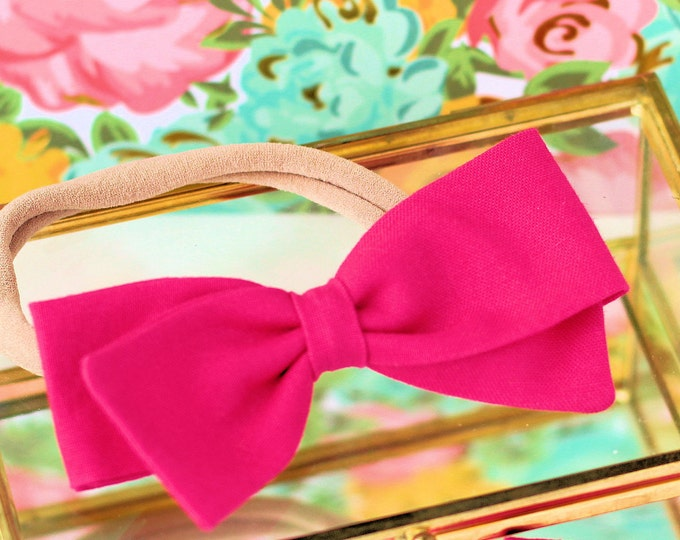 Fuschia Hair Bow - Hair Bows and clips for Girls - Nylon Headbands