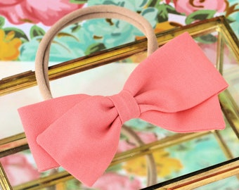Salmon Bow -  Hair Bows and clips for Girls - Fabric Bows